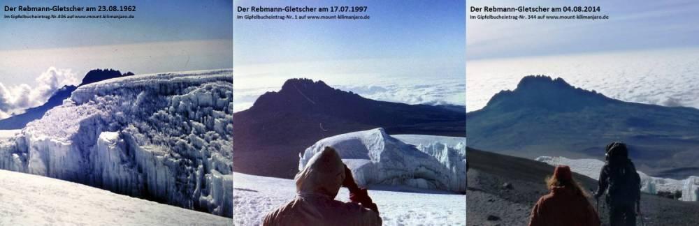 1962 - 1997 - 2014 Der Rebmann Gletscher.
