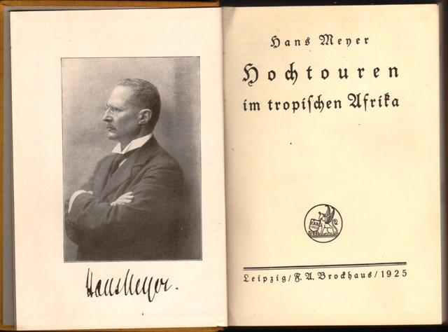 04. 1925 - Hochtouren im tropischen Afrika, Hans Meyer, Verlag F.A. Brockhaus, Leipzig,<br><b>Die Deckseite</b>