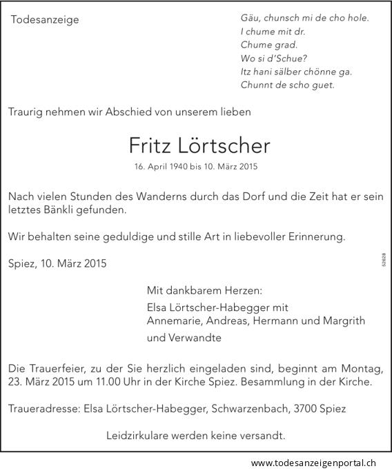 2015 - Todesanzeige Fritz Lörtscher