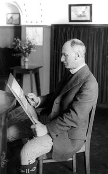 1849-1921 Edward Theodore Compton bei der Arbeit mit Zeichenstift