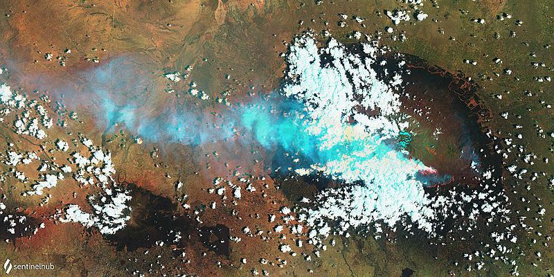 2020-10-15 Kilimanjaro Feuer aus dem All vom Sentinel-2