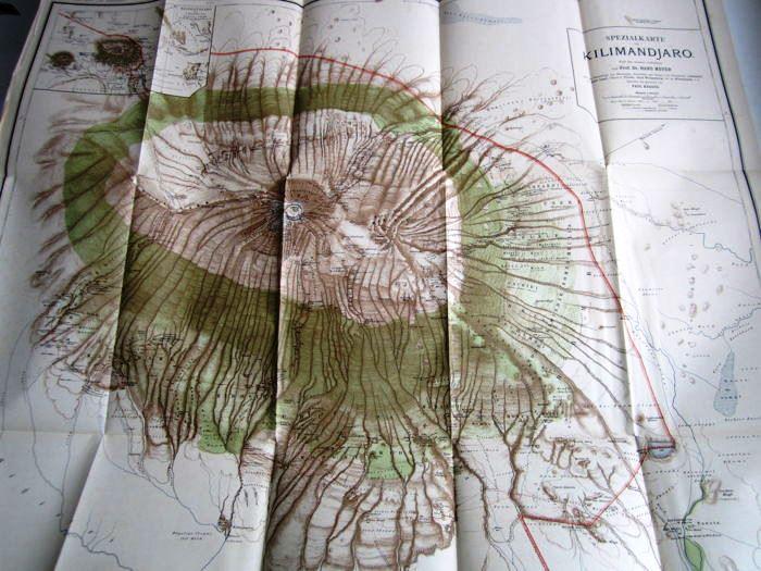 10. 1900 - Der Kilimandjaro, Prof. Dr. Hans Meyer, Verlag Dietrich Reimer, Berlin,<br><b>Kilimandjaro-Karte</b>