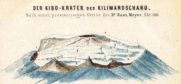 1890 - Der Kibo-Krater des Kilimandscharo von Dr. Hans Meyer in der Karte von Ostafrikanische Gletscherfahrten