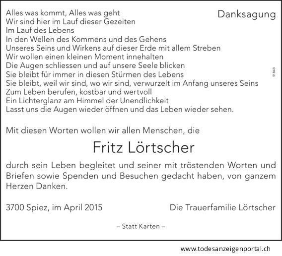 2015 - Danksagung Fritz Lörtscher