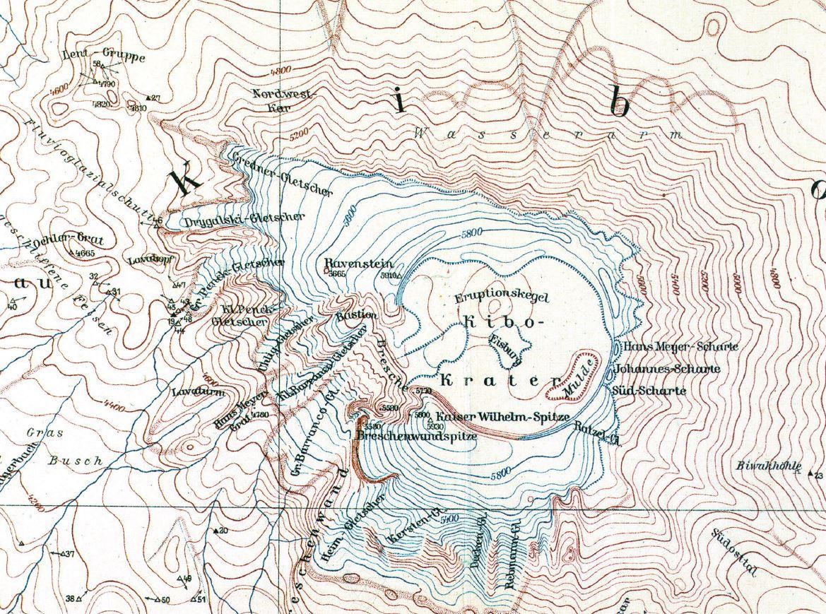 1912 - Auszug aus der Kilimandscharo-Karte von [[Fritz Klute]] mit der Johannes-Scharte