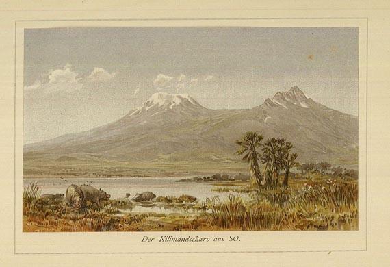 1890 - Der Kilimandscharo aus SO - E.T. Compton - das farbiges Titelbild in der 1.Auflage Ostafrikanische Gletscherfahrten