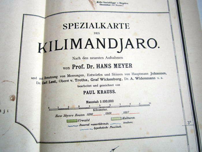 11. 1900 - Der Kilimandjaro, Prof. Dr. Hans Meyer, Verlag Dietrich Reimer, Berlin,<br><b>Kilimandjaro-Karte</b>
