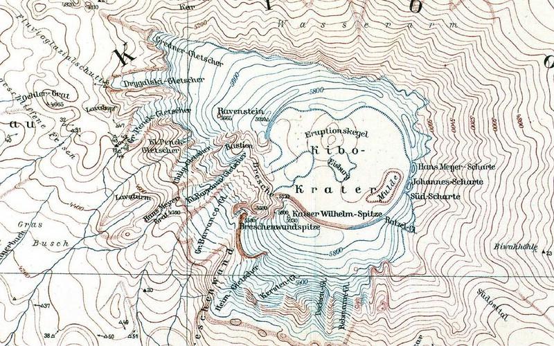 1920 - Die Kilimanjaro Krater Karte von Fritz Klute