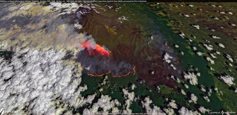 2020-10-15 Kilimanjaro Feuer 3D vom Sentinelhub