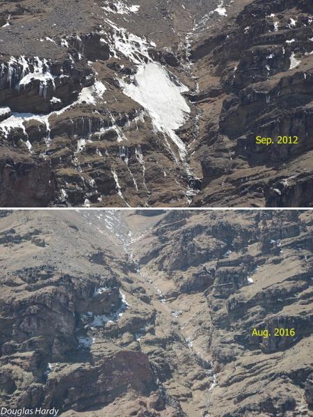 Reste des Uhlig Gletschers 2012 und 2016 bei kiboice.blogspot.de