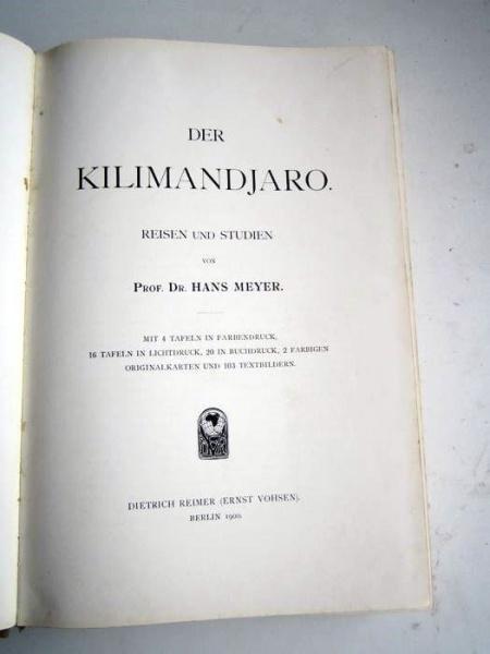 02. Der Kilimandjaro,<br>Prof. Dr. Hans Meyer, Verlag Dietrich Reimer,<br><b>Die Deckseite</b>